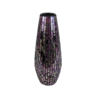 Pink and Silvertone Glass Mosaic Vase