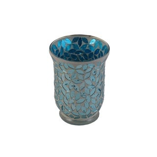 Firefly Teal Glass Long Mosaic Candle Holder
