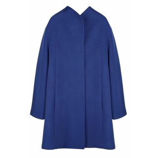 Elie Tahari Dalia Blue Wool Blend Plus Size Coat