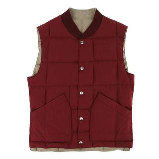 Brunello Cucinelli Burgundy and Beige Reversible Vest