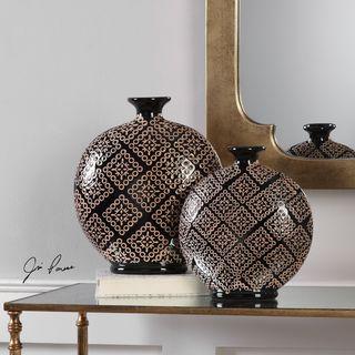 Uttermost Kelda Black Ceramic Vases (Set of 2)