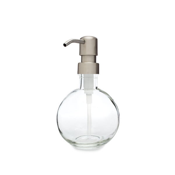 RAIL19 Moon Round Glass Soap Dispenser w/ Farmhouse Stainless Pump