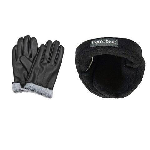 Men's Leather Fur-Lined Gloves and Adjustable Ear Warmers (Set)