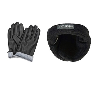 Men's Black Leather Fur-Lined Gloves and Adjustable Ear Warmers (Set)