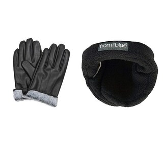 Men's Black Leather Fur-Lined Gloves and Adjustable Ear Warmers (Set)