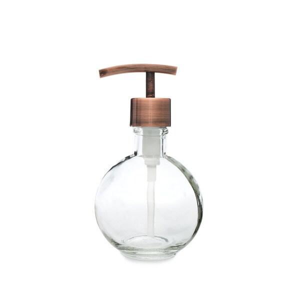 RAIL19 Moon Round Glass Soap Dispenser w/ Copper Modern Pump