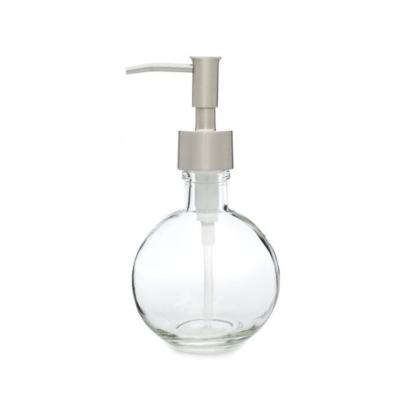RAIL19 Moon Round Glass Soap Dispenser w/ Stainless Rustic Pump