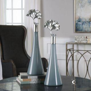 Uttermost Peta Blue Glass Sculpture (Set of 2)