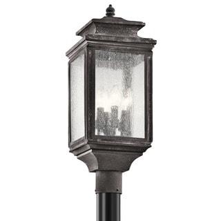 Kichler Lighting Wiscombe Park Collection 4-light Weathered Zinc Outdoor Post Mount
