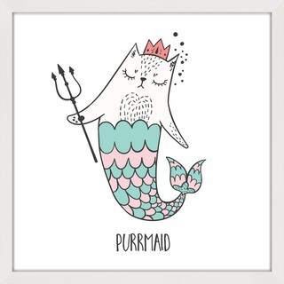 Marmont Hill - 'Purrmaid 01' by Shayna Pitch Framed Painting Print