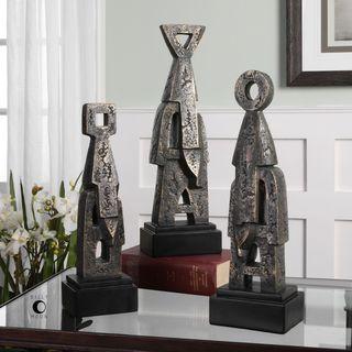 Uttermost Geometric Golden Bronze Totem Sculptures (Set of 3)