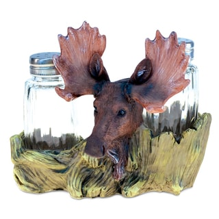 Moose Resin and Stone Salt-and-Pepper Holder