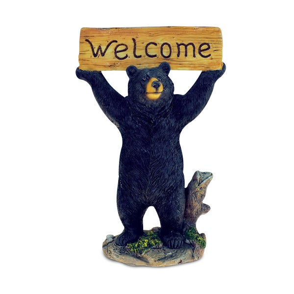 Standing Black Bear Holding 'Welcome' Sign Figurine - Multi