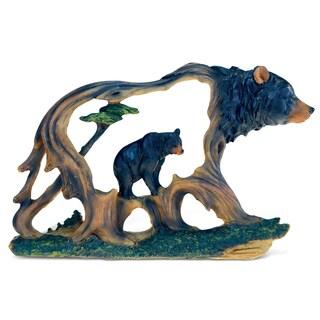 So-Black-It's-Blue Bear Tree Decor Sculpture