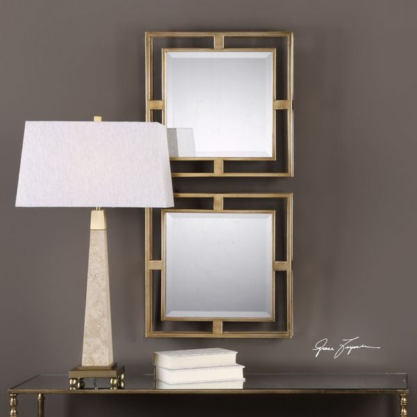 Uttermost Allick Gold Square Mirrors (Set of 2) - Antique Silver - 18x18x2.5. Opens flyout.