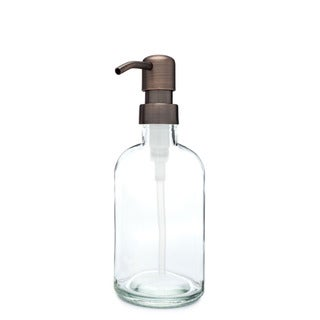 RAIL19 Small Clear Glass Soap Dispenser w/ Farmhouse Bronze Pump