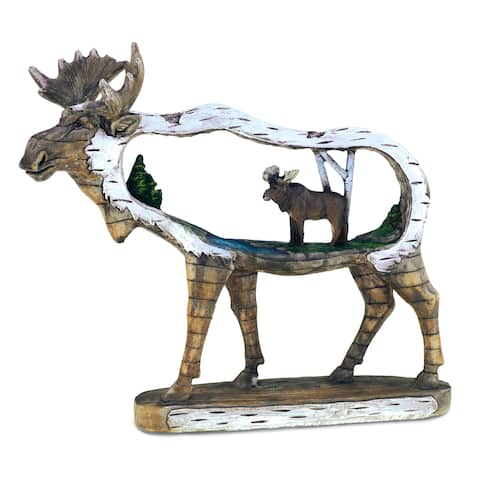 Puzzled The Wild Resin and Stone Wooden Moose Inside Moose Decor