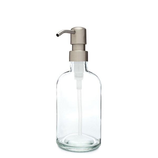 RAIL19 Small Clear Glass Soap Dispenser w/ Farmhouse Stainless Pump