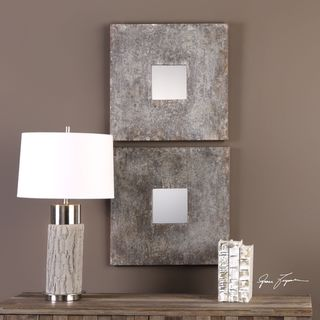 Uttermost Altha Burnished Square Mirrors (Set of 2) - Antique Silver - 20x20x1