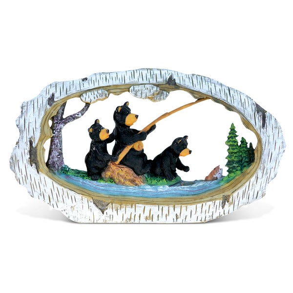 Puzzled The Wild Collection Tree Bark Black Bear Family Fishing Wall Decor Sculpture