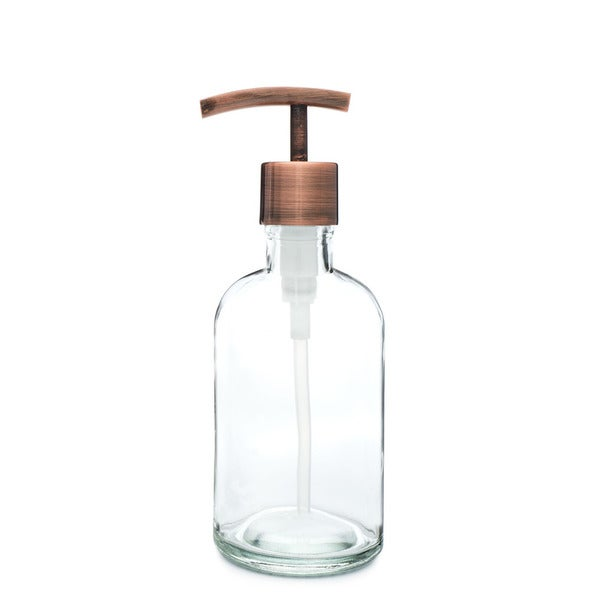 RAIL19 Small Clear Glass Soap Dispenser w/ Copper Modern Pump