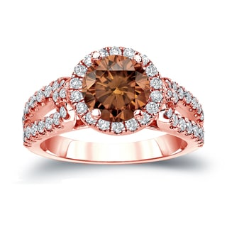 Auriya 14k Gold 1 1/2ct TDW Round Cut Brown Diamond Halo Engagement Ring (Brown, SI2-SI3)