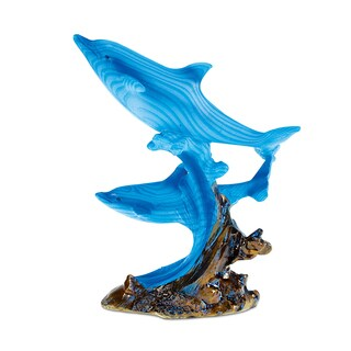 Puzzled The Wild Collection Blue Dolphins in Ocean Wave Small Decor Sculpture