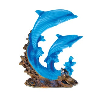 Puzzled The Wild Collection Blue Dolphins in Ocean Wave Sculpture Decor