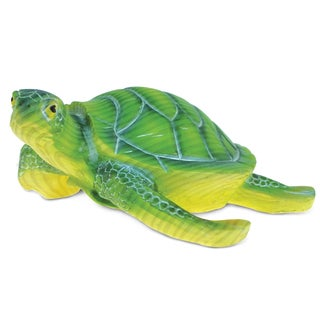 Puzzled The Wild Collection Green Resin and Stone Sea Turtle Statue
