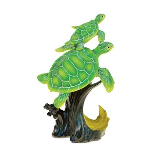 Puzzled The Wild Collection Green Resin Stone Sea Turtles in Ocean Wave Figurine