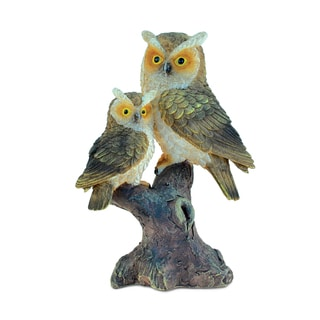 Puzzled The Wild Collection 'Owls in Branch' Stone and Resin Sculpture