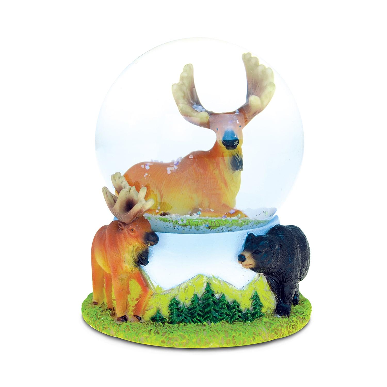 Puzzled Resin and Stone Moose Snow Globe (Animal), Multi