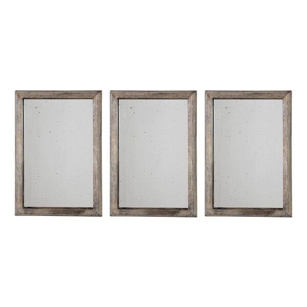 Uttermost Alcona Antiqued Silver Mirrors (Set of 3) - 13.75x19.75x1.5
