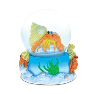 Puzzled Stone and Resin Hermit Crab Snow Globe