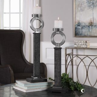 Uttermost Docia Charcoal Candleholders (Set of 2)