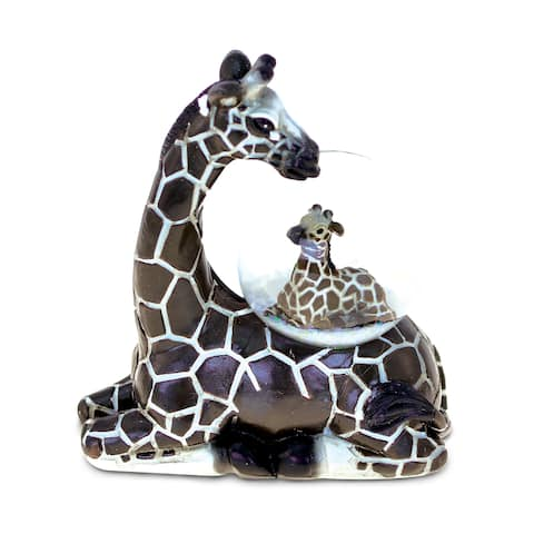 Puzzled Resin and Stone Giraffe Snow Globe