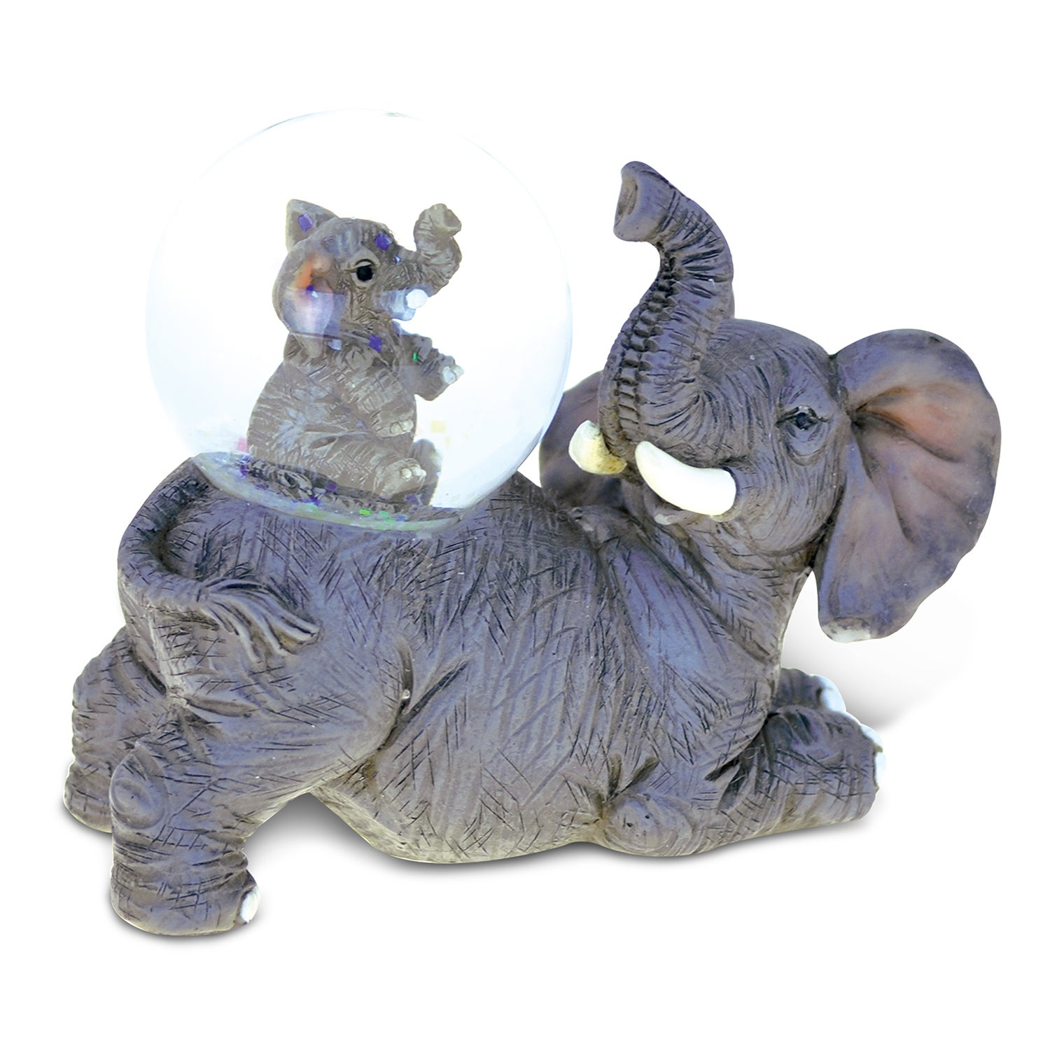 Puzzled Stone and Resin Elephant Snow Globe (Animal), Multi