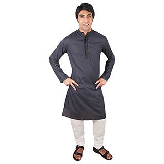 Indian Clothing Men's Fitted Long Kurta Tunic Banded Coll...