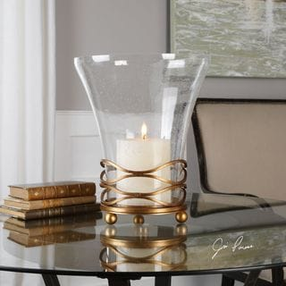 Uttermost Cristoforo Seeded Glass Hurricane