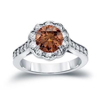 Auriya 14k Gold 1 3/4ct TDW Round Cut Brown Diamond Halo Engagement Ring (Brown, SI2-SI3)