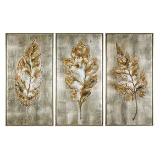 Uttermost Champagne Leaves Modern Art (Set of 3)