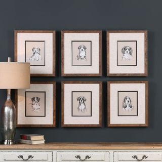 Uttermost Small Breed Sketch Prints (Set of 6)