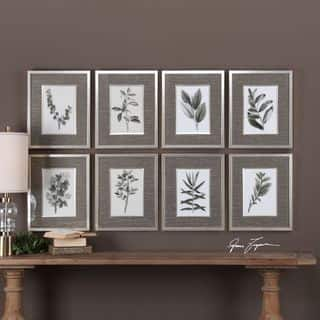 Uttermost Sepia Gray Leaves Prints (Set of 8)