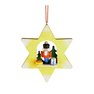 Christian Ulbricht Nutcracker with Toys in Yellow Star Ornament
