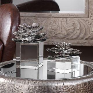 Uttermost Indian Lotus Metallic Silver Flowers (Set of 2)