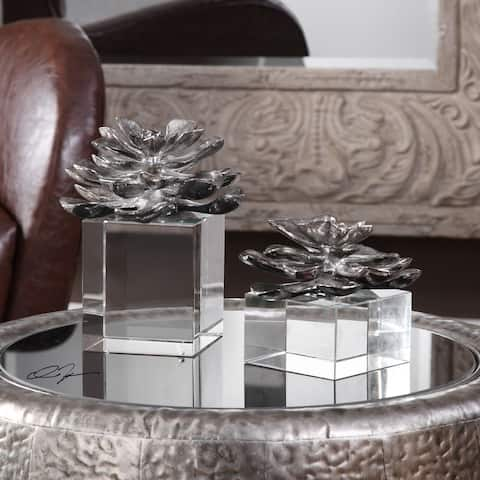 Uttermost Indian Lotus Metallic Silver Flowers (Set of 2)