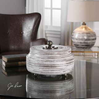 Uttermost Saltillo White Ceramic Box
