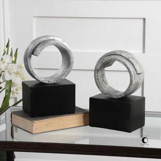 Uttermost Twist Modern Silver Bookends (Set of 2)