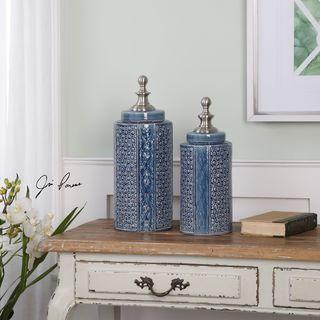 Uttermost Pero Sapphire Blue Urns (Set of 2)