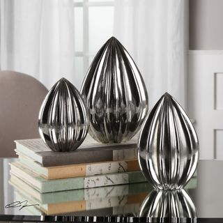 Uttermost Gerardo Ribbed Silver Finials (Set of 3)